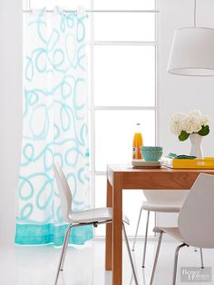 Learn how to spray paint freestyle loops on a plain white curtain here: http://www.bhg.com/decorating/paint/projects/spray-paint-ideas/?socsrc=bhgpin081415curtaincall&page=5