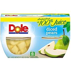 Dole Fruit Bowls, Diced Pears in Fruit Juice, 4 Ounce Cups), Size: 4 fl oz, Multicolor Pear Fruit, Fresh Fruit, Dole Fruit Cups, Grape Juice Concentrate, Bartlett Pears, Ice Cream Toppings, Delicious Fruit, Fruit Juice, Fresh Vegetables