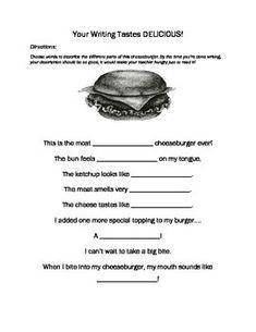 Descriptive writing food