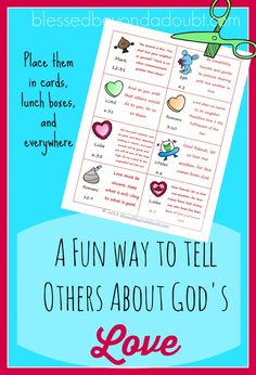 FREE God's Love Notes Printables! Just print , cut, and pass out to friends. There are 16 different cards with scripture about LOVE.
