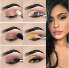 Here we have compiled simple eye makeup tips pictures. They can help you become an eye makeup expert. You can also easily get the perfect eye makeup. Eye Makeup Steps, Makeup Eye Looks, Simple Eye Makeup, Sleek Makeup, Makeup Trends, Sparkle Eye Makeup, Yellow Eye Makeup, Yellow Eyeshadow, Makeup Pictorial