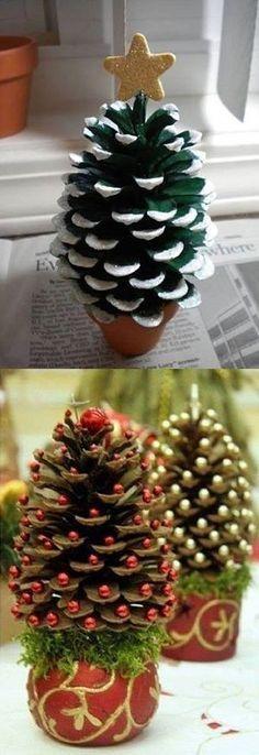 Resultado de imagen de decoracion navideña fieltro y piña