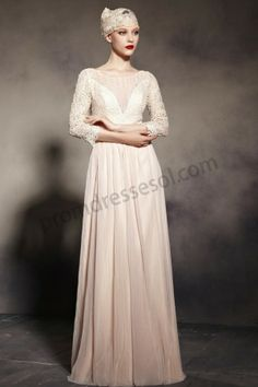 2014 Apricot Round Neck Long Sleeve Lace Prom Dress BY960