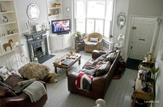 Fireplace as a feature, Living room, Wooden floor 3 Living Rooms, Stairs In Living Room, Spacious Living Room, Living Room Decor, House Stairs, Victorian Terrace Interior, Cottage Lounge, Victorian Living Room, Room London