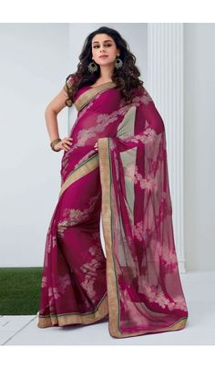 Grace yourself by draping in this Pink #chiffon #brasso printed #casual wear #saree with trendy and #elegant print on it. The saree is an ideal choice of attire for casual events and comes attached with matching blouse piece that can be custom made for upto bust size of 42 inches.