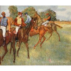 Degas 1918 Horse racing Canvas Art - Edgar Degas (18 x 24)