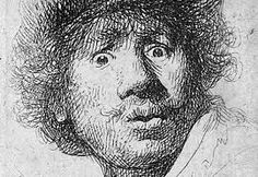Self-Portrait With Beret, By Rembrandt Van Rijn, Dutch Print, Etching On Paper. Rembrandt Was 24 When He Created This Etching Poster Print Rembrandt Etchings, Rembrandt Self Portrait, Rembrandt Drawings, Self Portrait Drawing, Rembrandt Paintings, Drawing Portraits, Rembrandt Art, Portrait Au Crayon, Pencil Portrait