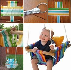 Wonderful DIY Hammock Type Baby Swing is part of Mommy And Baby crafts - What kid doesn't love a swing A baby swings not only provides a gentle rocking motion to soothe and comfort baby , but also give moms handsfree time A Baby Hammock, Hammock Swing, Baby Swings, Diy Swing, Outdoor Hammock, Indoor Swing, Hammock Ideas, Backyard Hammock, Outdoor Chairs