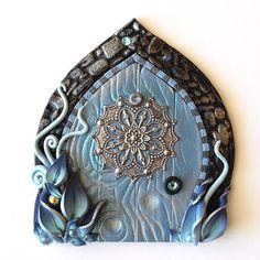 Snowflake Fairy Door Winter Pixie Portal by Claybykim on Etsy