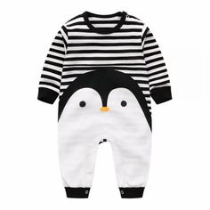 * Adorable penguin<br /> * Stripe pattern<br /> * Snap closure<br /> * Material: 100% Cotton<br /> * Machine wash, tumble dry<br /> * Imported<br /> <br /> A cozy 100% cotton jumpsuit breathes easily so baby stays comfy all day long.