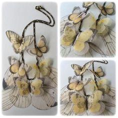 I Will Fly Away - Collana con Farfalle e Ali in Organza Giallo Avorio Bianco - Pezzo Unico - Su Ordinazione by TheButterfliesShop on Etsy