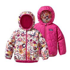 3T - Patagonia Baby Reversible Puff-Ball Jacket - Birds & Vines: Rosy Posy Pink BVRP