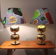 Swedish Brass Table Lamps with Josef Frank Fabric Shades, 1970s