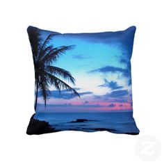 Unique, trendy and pretty pillow. Beautiful blue, turquoise, violet, purple and pink sunset on tropical and exotic Hawaiian beach. For the lover of Hawaii, beaches, the ocean and sea, vacation and the beauty of the tropics. Cute, colorful and fun girly girls, mom's or dad's birthday present, Mother's or Father's day, or Christmas gift. Original and cool pillow for the master or children's bedroom, nursery, living or family room, dorm, beach house, boat, ship or yacht, RV or vacation home.