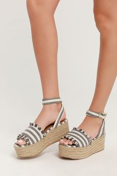 281ae0be63c Daphnie Grey and Beige Striped Espadrille Platform Sandals