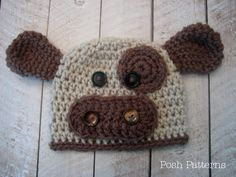Crochet Hat PATTERN Baby Cow Beanie Hat PDF 221 - Newborn to 4T Grandma!  Corbin needs one of these in black and white!!
