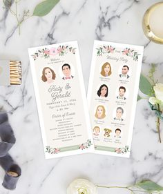 Our Program with Wedding Party Portraits features illustrated versions of the bride and groom, along with portraits of everyone in your wedding party! These programs are personalized just for you, down to every last detail.