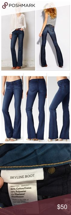 "Paige Skyline Boot Cut Jeans A classic pair that every girl needs in her closet. This specific pair was sold at Anthropologie stores. Flat measurements: inseam 34"", rise 8"", waist 15.5"" Anthropologie Jeans Boot Cut"