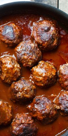 Braised Meatballs in Red Wine Gravy - Extra-large and tender beef meatballs are cooked in a full-bodied wine sauce. The wine-sauce is fairly thick and acts as a wonderful gravy for the mashed potatoes. beef meatballs Braised Meatballs in Red Wine Gravy Meatball Recipes, Meat Recipes, Wine Recipes, Cooking Recipes, Meatball Sauce, Meat Sauce, Recipies, Red Wine Gravy, Southern Kitchens