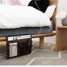Corral all your bedtime essentials with a bedside storage caddy instead of losing everything on your tiny, crowded nightstand. 26 Clever Storage Ideas For When You're Completely Out Of Space Bedside Caddy, Bedside Storage, Storage Caddy, Bed Storage, Storage Spaces, Storage Headboard, Bedside Tables, Gray Headboard, Table Storage
