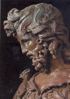 Sculpture of Leonardo da Vinci, bronze. He kept a fit figure and was asked to model for many known Renaissance Era sculptures.