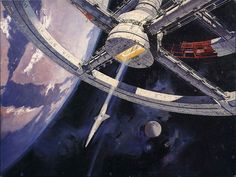 Classic Robert McCall space art in a British publicity still for Stanley Kubrick's A Space Odyssey.