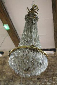 Lustre montgolfière à perles et pampilles en cristal, monture bronze