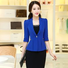 blazer short on sale at reasonable prices, buy 2017 Women's office work Jacket Spring Autumn half sleeve Solid Color Ruffled Blazers feminino Fashion Slim elegant Casual Coat from mobile site on Aliexpress Now! Work Jackets, Jackets For Women, Clothes For Women, Hijab Style, Business Dresses, Blazer Fashion, Elegant Outfit, Look Chic, Office Outfits