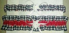 Set 2 Red Black White Houndstooth Alabama Wedding Garters Bag Crimson Tide Univ | eBay DONE this will be mine.