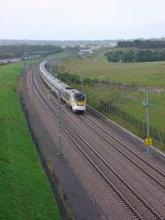 A Eurostar train travels High Speed 1.