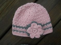 Baby Girl Pink and Grey Hat with Flower  by BabyCrochetCouture, $20.00