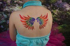 Glitter tattoo wings done by Twinkle Tattoos Glitter Henna, Glitter Tattoos, Awesome Tattoos, Cool Tattoos, Tattoo Wings, Face Paint Makeup, Rainbow Pride, Paint Ideas, Twinkle Twinkle