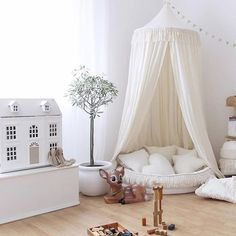 Security Check Required [New] The 10 Best Home Decor Ideas Today (with Pictures) - This type of simple nursery will give your kids comfort yet chic at the same time. Especially if you put that kind of canopy in the corner of the room. Baby Bedroom, Baby Room Decor, Nursery Room, Girls Bedroom, Toddler Bedroom Girls, Little Girls Playroom, Baby Playroom, Room Swing, Ideas Dormitorios