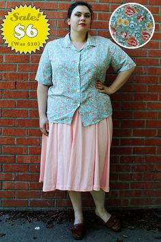 CLEARANCE  Plus Size  Vintage Floral Dress Shirt by TheCurvyElle, $6.00