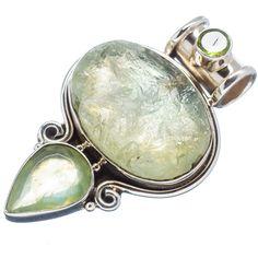 """Rough Prehnite, Peridot 925 Sterling Silver Pendant 1 3/4"""" PD521267"""