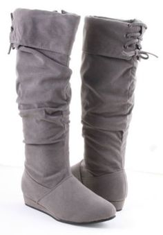 CUTE! Slouchy Pirate Inspired Knee High Wedge Boot Grey:Amazon:Shoes