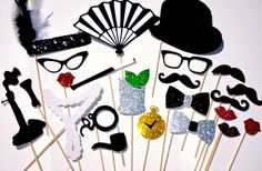 1920's Props - Roaring Twenties Photo Booth Prop Set - 22 pieces - Great Gatsby - GLITTER Photobooth Props