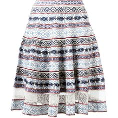 Alexander McQueen knee-length jacquard skirt (15 265 SEK) ❤ liked on Polyvore featuring skirts, blue, jacquard skirts, knee high skirts, alexander mcqueen, blue skirt and blue pleated skirt