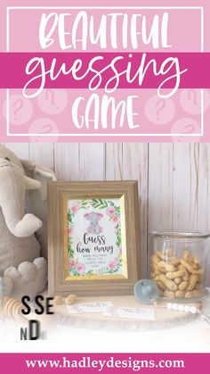 If you want a memorable party game, the baby elephant baby shower guessing game jar cards are for you; floral pink guessing cards are fun for a kids birthday party, baby games for baby shower; flower greenery guess how many kisses in the jar cards, botanical watercolor blush pink baby girl baby shower decorations, guess how many baby shower games for girls, guessing games, baby shower ideas, party games, guess how many kisses game, baby shower supplies, baby shower decorations for girls Baby Shower Guessing Game, Easy Baby Shower Games, Baby Shower Candy, Guessing Games, Baby Shower Activities, Baby Games, Baby Boy Shower, Gender Reveal Party Supplies, Baby Gender Reveal Party
