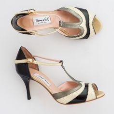Comme il Faut Tango Shoes  - Beige negro y dorado size 41 heel 7cm