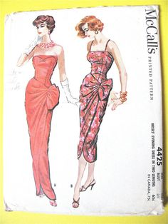 McCalls 4425 Misses Sexy Evening Dress Pattern Strapless or Straps Draped Sarong Style Womens Vintage Sewing Pattern Size 16 Bust 36 Retro Mode, Vintage Mode, Moda Vintage, Vintage Style, Evening Dress Patterns, Vintage Dress Patterns, Dress Sewing Patterns, Fabric Sewing, Mccalls Patterns