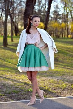 @roressclothes closet ideas #women fashion outfit #clothing style apparel Pink Top with Green Skirt