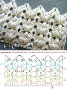 Вязалки Knitting Bordado Crochet Am Bordado - Diy Crafts - DIY & Crafts Crochet Stitches Chart, Crochet Symbols, Crochet Diagram, Afghan Crochet Patterns, Knitting Patterns, Crochet Shell Pattern, Poncho Crochet, Crochet Lace Edging, Crochet Designs