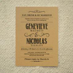 DIY Kraft Paper Wedding Invitation  di AmyAdamsPrintables su Etsy