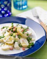 Kartoffelsalat mit TK-Erbsen und angebratenem Räuchertofu statt Schinken