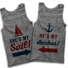 AwesomeBestFriendsTs He's My Anchor She's My Sail Matching Couples... ($55) ❤ liked on Polyvore featuring tops, grey, tanks, women's clothing, loose tank tops, grey shirt, loose tank, grey tank and vintage shirts