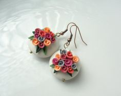 Lilac rose bead earrings handmade from polymer clay by fizzyclaret