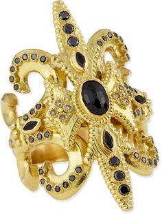 Armenta Sueo Black Sapphire 18k Gold Scroll Ring in Gold