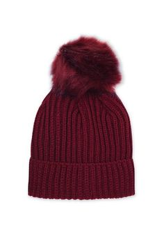 Keep your head warm as the weather gets colder in this burgundy beanie with matching faux fur pom to the top. A wardrobe essential for accessorising your outfit. #Topshop