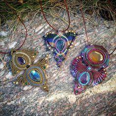 """Three little birds"" <3 #macramental #handmadejewelry #handmade #artesania #gemstone #micromacrame #macrame"